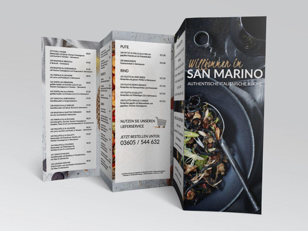 San Marino Leinefelde Restaurante Speisekarte Druck Webseite Online Speisekarte Webdesign Homepage Restaurant Onlinespeisekarte