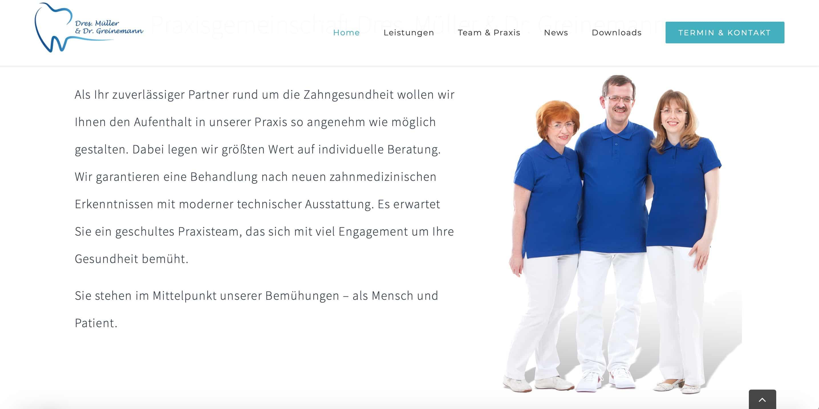 Dr. Müller Leinefelde Preis Seite Praxis-Homepage Zahnarzt Webseite Zahnarzt Homepage Arzt